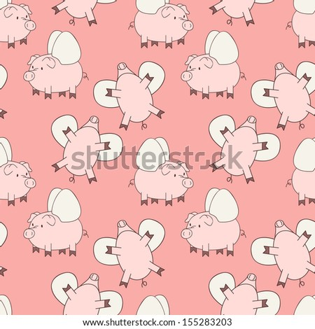 flying pigs on pink background. Cute repeating texture - stock ...