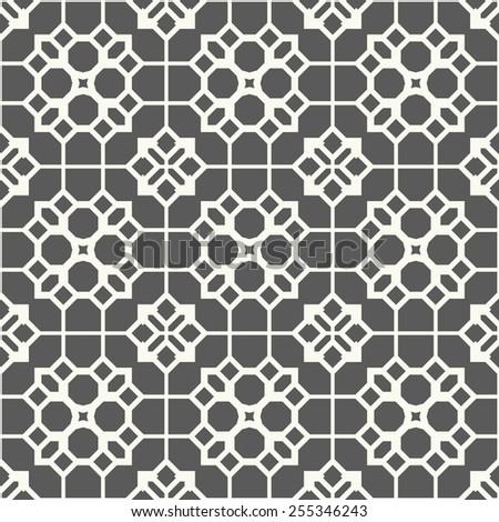 Vector seamless pattern. Stylish textile print with abstract geometric grid.