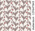 Vector seamless pattern. Stylish texture. Endless floral background. Vertical branches with leaves and berries - stock vector