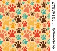 Vector seamless pattern with animal paws - cartoon background - stock vector