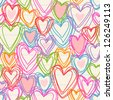 Vector seamless pattern with color hearts of doodles on sheet of notebook. Romantic background Valentines Day's, wedding in childish hand drawn style. Abstract ornamental illustration for print, web - stock vector