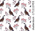 Vector seamless pattern with cute smiling quails and floral elements on the white background - stock