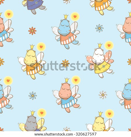 Vector seamless pattern with fairies hippopotamuses and flowers on a blue background.