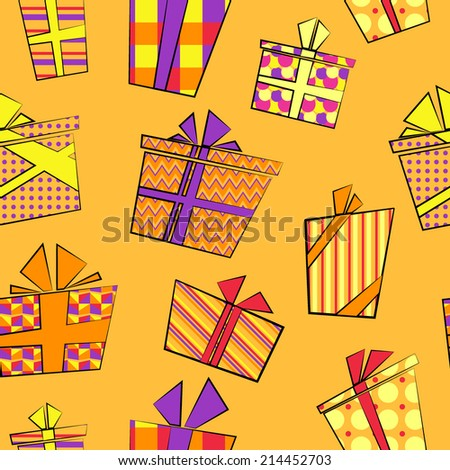Vector seamless pattern with flat cartoon style present boxes in pattern wrapping with ribbons
