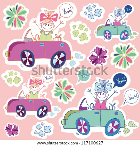 Vector seamless pattern with funny small girl.
