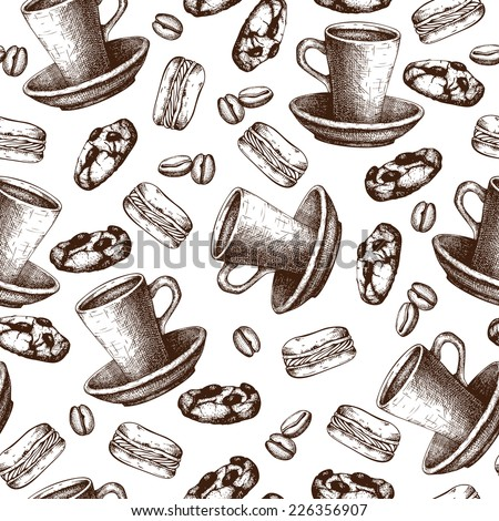 Vector seamless pattern with ink hand drawn coffee and dessert illustrations. Vintage coffee   sketch background.