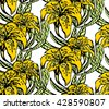 Vector seamless pattern with lilies. Illustration of floral background for print, textile etc - stock vector