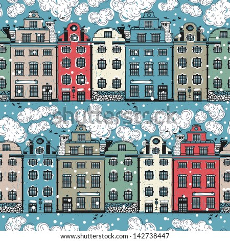 Old Fashioned Houses vector seamless pattern old fashioned houses stock vector