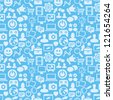 Vector seamless pattern with social media icons - abstract background - stock vector