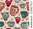 Vector seamless pattern with tea cups - cartoon background - stock vector
