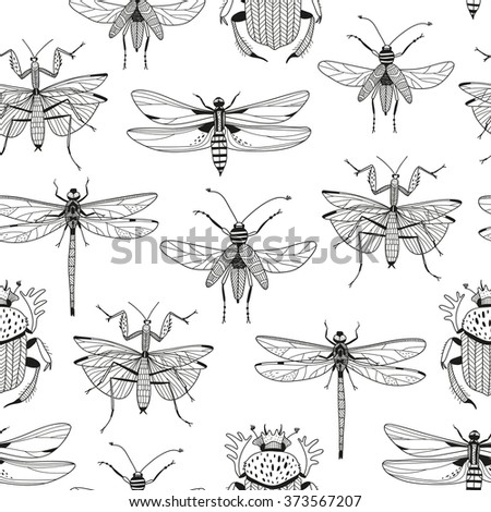 vector seamless pattern with various hand drawn insects