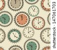 Vector seamless pattern with vintage clock set, fully editable eps 10 file - stock vector
