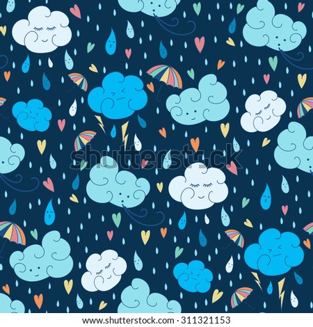 Vector seamless rain theme pattern. Colorful doodling autumn design. Endless dark blue background with hand drawn clouds, rain drops, umbrella and hearts.