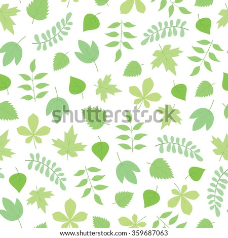 vector seamless spring pattern with leaves