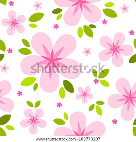 Vector seamless spring pattern with pink blossom