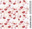 Vector seamless texture with a lot of color lips prints. - stock vector