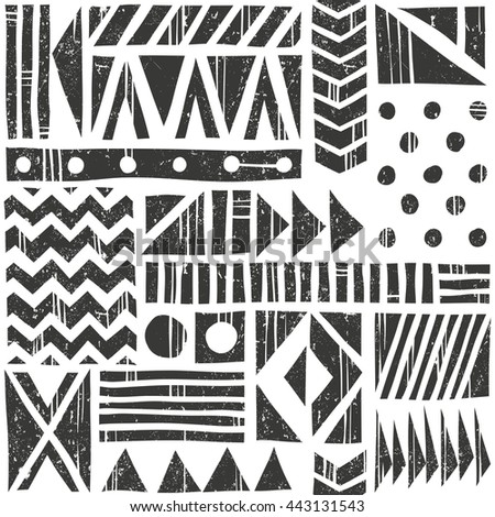 Vector seamless tribal pattern. Abstract background with different geometric shapes. Hand drawn illustration. Contains no transparency and blending modes.