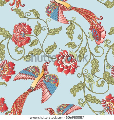 Vector seamless vintage floral pattern. Stylized silhouettes of flowers and berries on a blue background. Medieval, in rococo style, victorian style.
