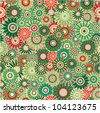 Vector seamless - vintage flower pattern (green floral background) - stock vector