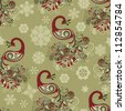 vector seamless winter pattern with stylized peacocks and snowflakes, fully editable file with clipping masks - stock vector