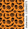 vector seamless with pumpkin, bat and skull - stock vector
