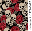 vector seamless with roses and skulls - stock photo