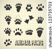 Vector Set: Animal Paw Prints Collection - stock vector