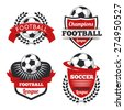 vector Set Badges logos red for football teams and tournaments, championships soccer.isolated on white Background