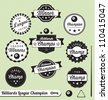 Vector Set: Billiards League Champion Labels and Stickers - stock vector
