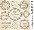 vector set: calligraphic design elements and floral frames. All objects are grouped separately. - stock