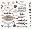 vector set: calligraphic design elements and page decoration, Premium Quality and Satisfaction Guarantee Label collection with vintage engraving flowers and leafs. - stock vector