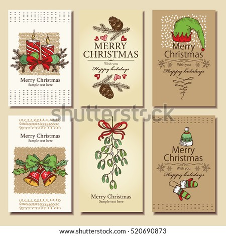 Vector set. Christmas and New Year cards with decorations, bell, candle, mistletoe and cones. hand drawn.