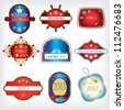 vector set christmas labels - stock vector