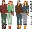Vector set fashion stylish guy and girl in spring clothes in two colors - stock vector