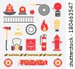 Vector Set: Firefighter Flat Icons and Symbols - stock photo