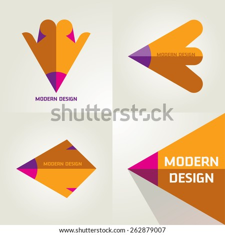 Vector Set Of A Flat Logotypes From Pencil And Arrows For Designers Forum