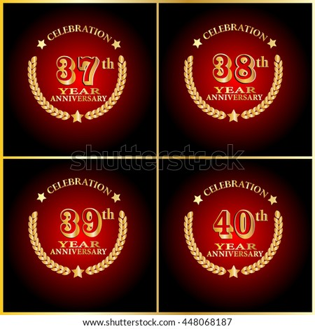 Anniversary Logo Set 30th 40th 50th Stock Vector 488457463 ...