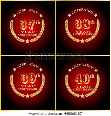Anniversary Logo Set 30th 40th 50th Stock Vector 488457463 ...
