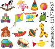 Vector set of baby's toys. - stock photo
