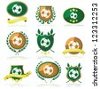 Vector set of badges and seals with a soccer ball inside - stock vector