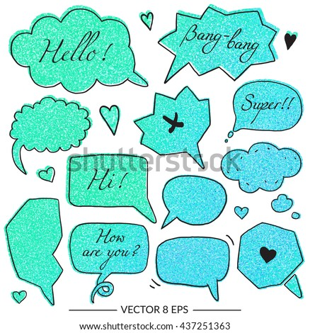 Vector set of balloons for inscriptions, pop arts, comics, cartoons. Vector set with glitter effect for your design.