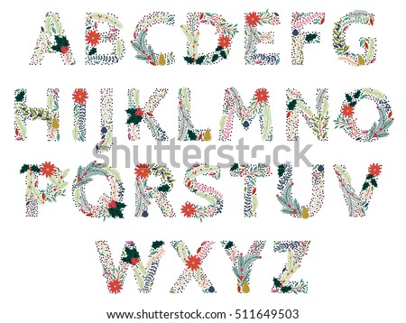 Vector Set of Beautiful Christmas or Winter Holidays Floral Alphabet