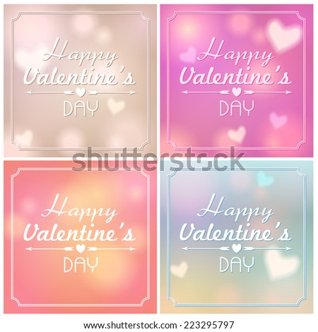 Vector set of beautiful soft focus, bokeh, glittering Valentine's Day background illustrations  with text