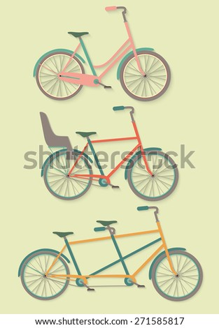 Vector Set of Bicycle. flat illustration