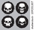 vector set of black labels with skull - stock vector