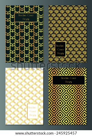 vector set seamless patterns art deco stock vector. Black Bedroom Furniture Sets. Home Design Ideas