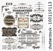 Vector set of calligraphic design elements: page decoration, Premium Quality and Satisfaction Guarantee and Highest Quality Labels, antique and baroque frames and borders for old design - stock photo