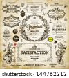 Vector set of calligraphic design elements: page decoration, Premium Quality and Satisfaction Guarantee Label, antique and baroque frames | Old paper texture with dirty footprints of a cup of coffee. - stock