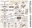Vector set of calligraphic elements for design. Calligraphic vector - stock vector
