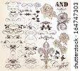 Vector set of calligraphic elements for design. Calligraphic vector - stock